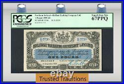 TT PK 126b 1939-40 NORTHERN IRELAND BELFAST BANKING 1 POUND PCGS 67 PPQ TOP POP