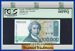 TT PK 27a 1993 CROATIA 100000 DINARA R. BOSKOVIC PCGS 68 PPQ SUPERB TOP POP