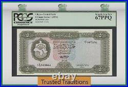 TT PK 36b 1972 LIBYA CENTRAL BANK 5 DINARS PCGS 67 PPQ SUPERB GEM NEW TOP POP