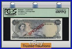 TT PK 38as 1974 BAHAMAS $10 ELIZABETH II SPECIMEN PCGS 68 PQ STILL ONLY TOP POP