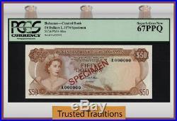 TT PK 40as 1974 BAHAMAS $50 ELIZABETH II SPECIMEN PCGS 67 PPQ SUPERB TOP POP