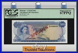 TT PK 41as 1974 BAHAMAS $100 ELIZABETH II SPECIMEN PCGS 67 PPQ SUPERB TOP POP
