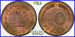 West Germany 1949-G 10 Pfennig, KM-103, PCGS MS65, Top Pop 2/0